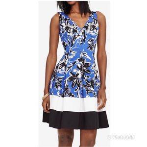RALPH LAUREN Floral Fit N Flare Dress Pleated Blue